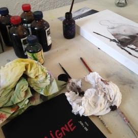 """""""Penser"""" la blessure, travail en cours dans l'atelier"""